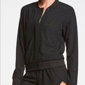 Fabletics Black Ithaca Perforated Bomber Jacket